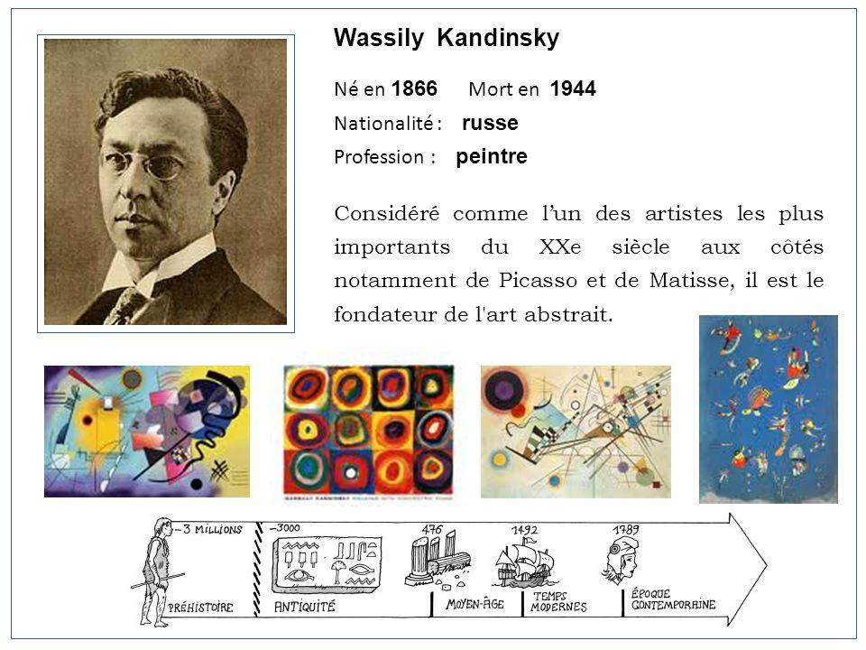 Wassily Kandinsky Né en 1866 Mort en 1944 Nationalité : russe
