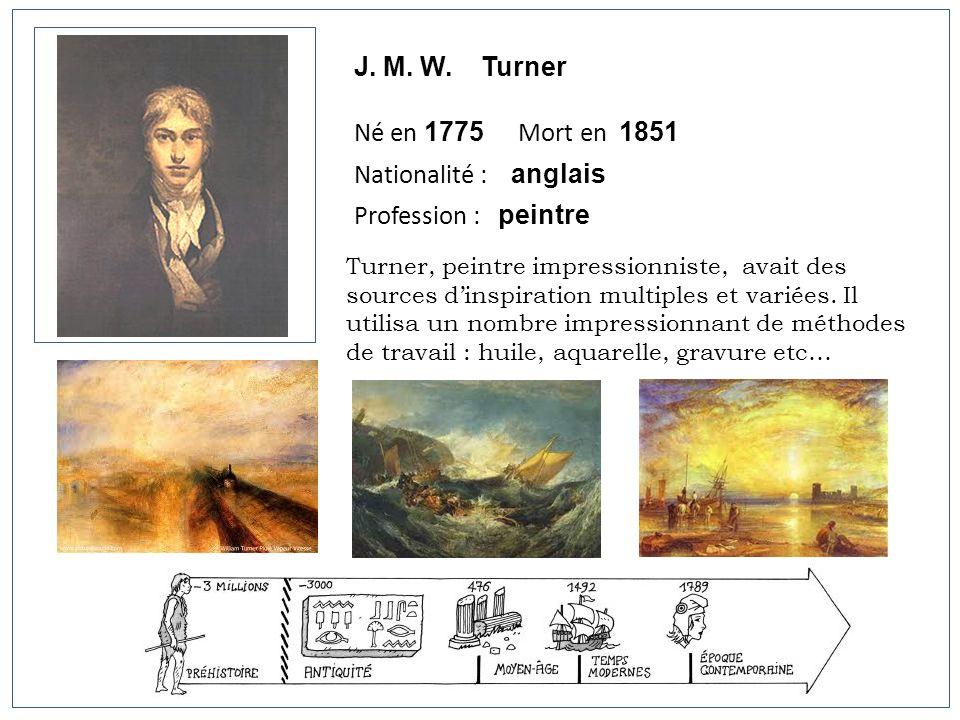 J. M. W. Turner Né en 1775 Mort en 1851 Nationalité : anglais