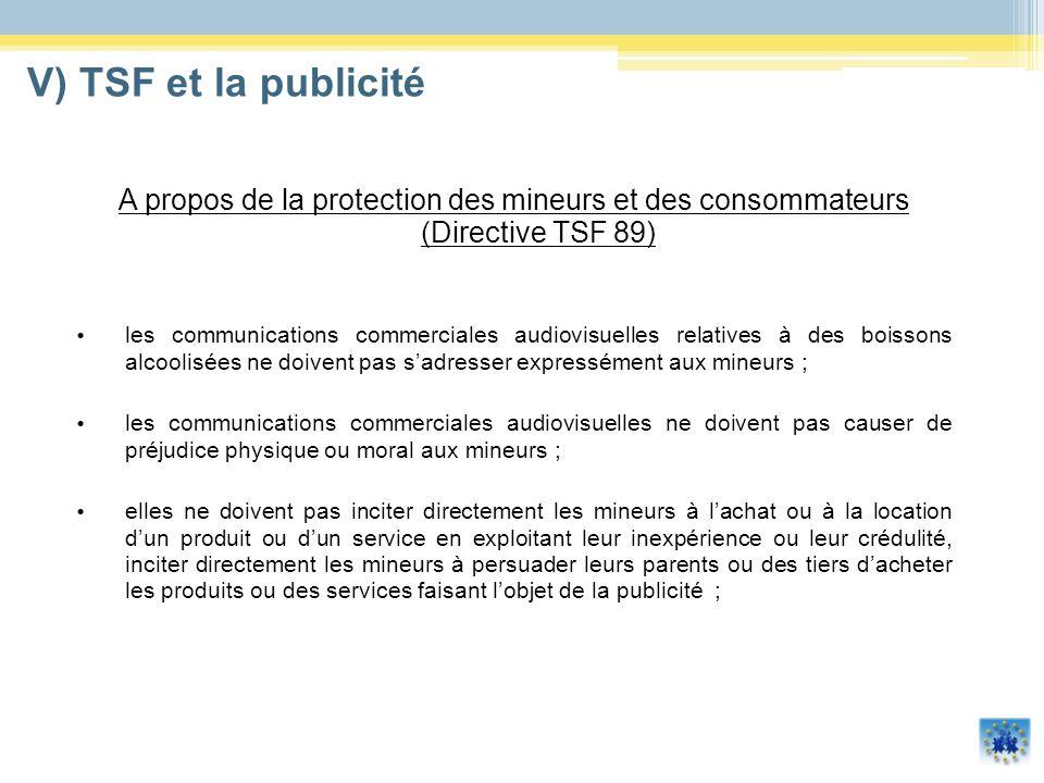 V) TSF et la publicité A propos de la protection des mineurs et des consommateurs (Directive TSF 89)