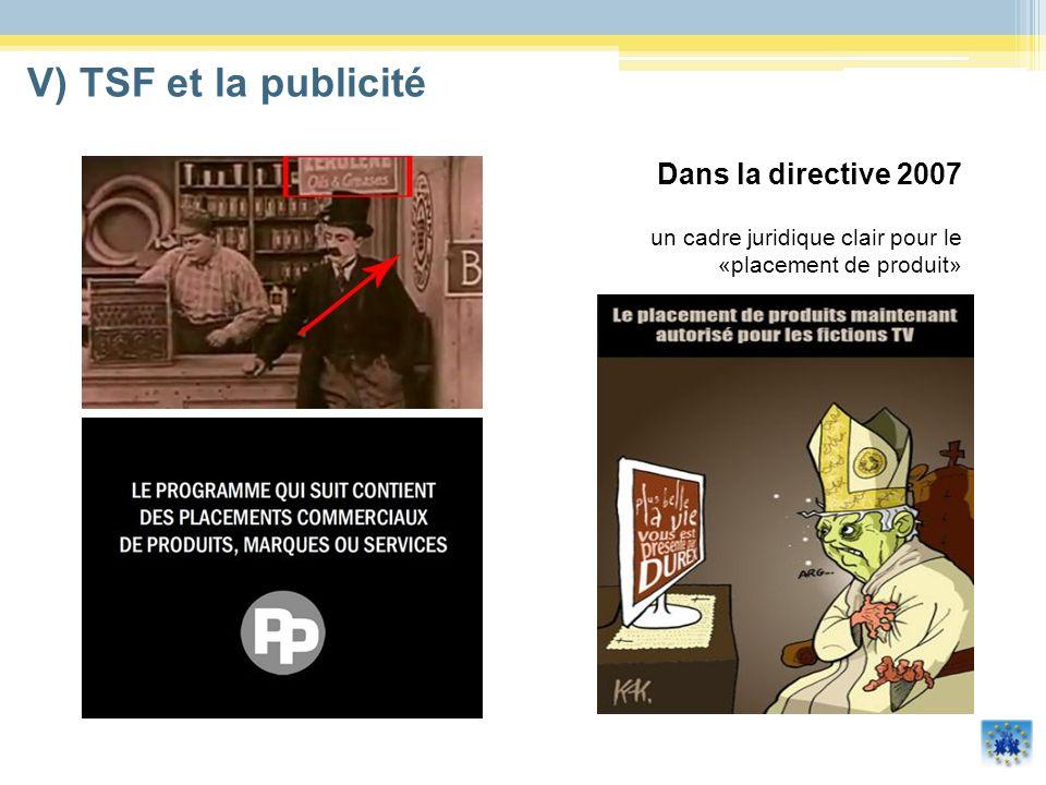 V) TSF et la publicitéDans la directive 2007 un cadre juridique clair pour le «placement de produit»