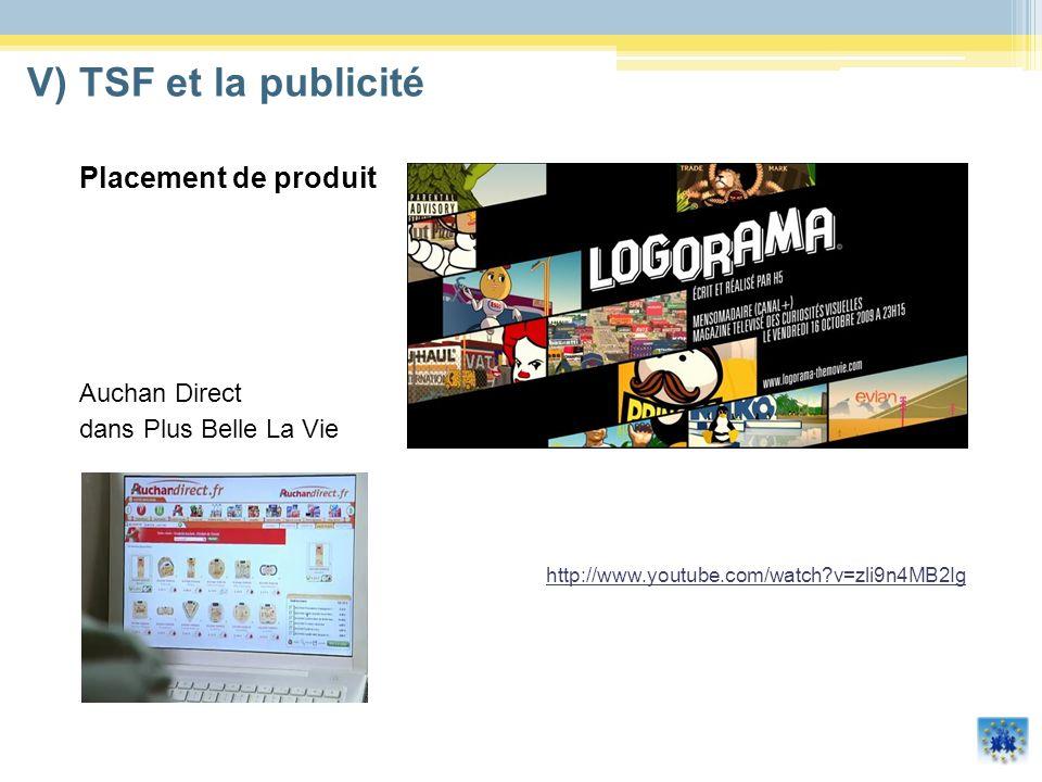 V) TSF et la publicité Placement de produit Auchan Direct