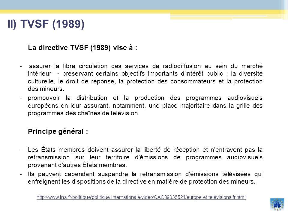 II) TVSF (1989) La directive TVSF (1989) vise à :