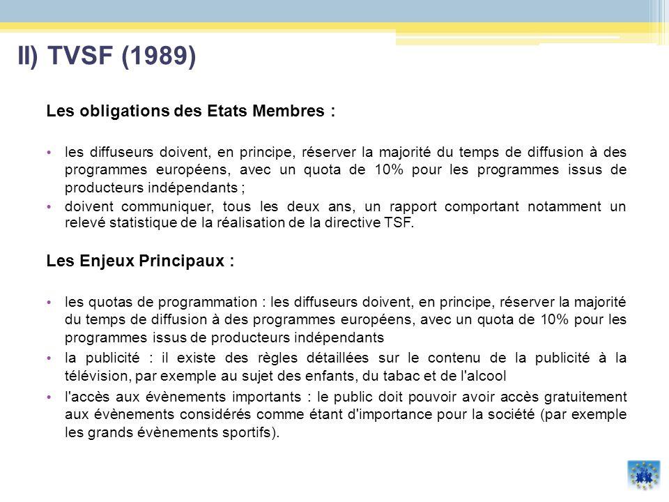 II) TVSF (1989) Les obligations des Etats Membres :