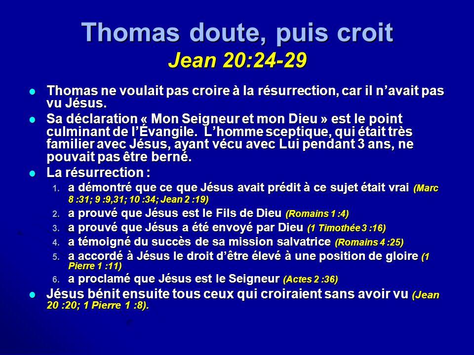 Thomas doute, puis croit Jean 20:24-29