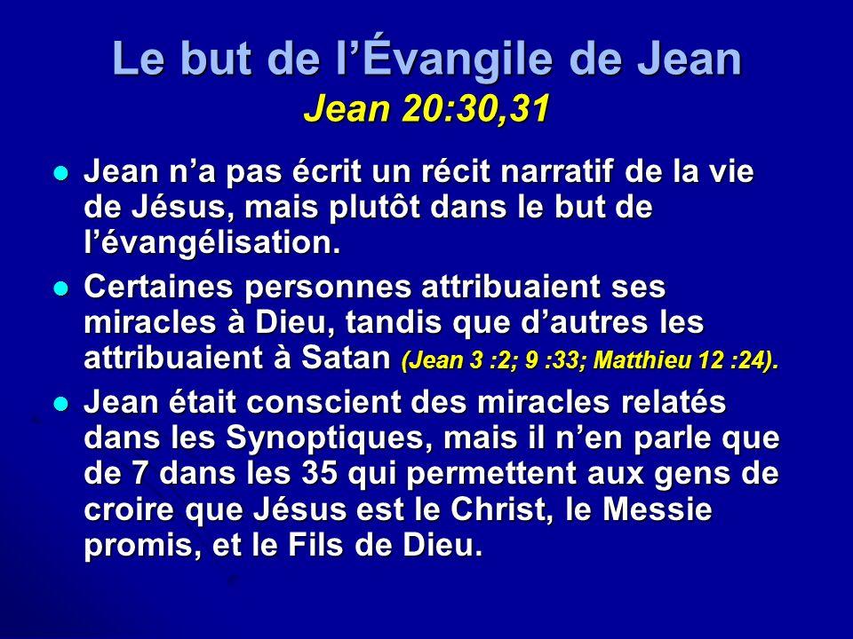 Le but de l'Évangile de Jean Jean 20:30,31