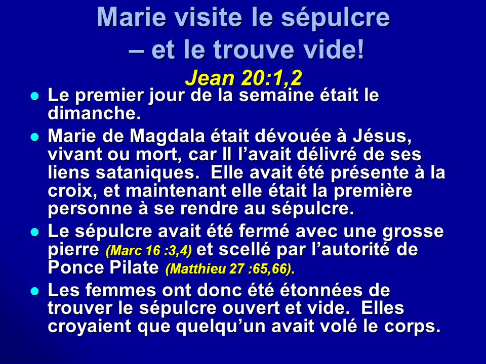 Marie visite le sépulcre – et le trouve vide! Jean 20:1,2