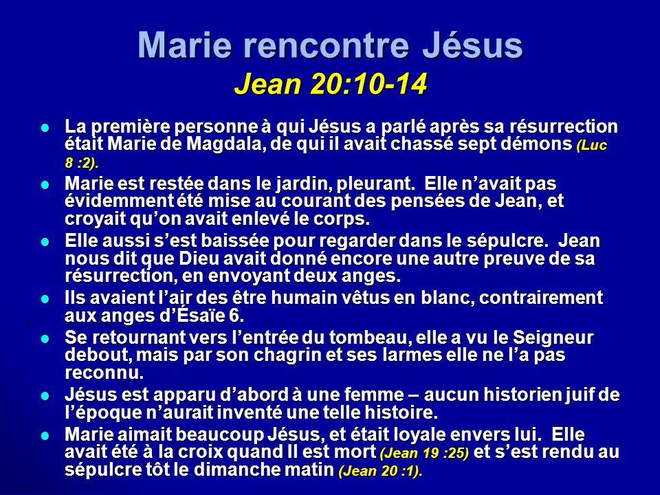 Marie rencontre Jésus Jean 20:10-14