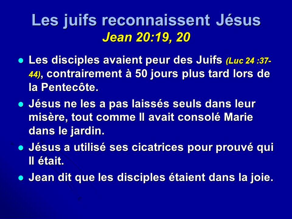 Les juifs reconnaissent Jésus Jean 20:19, 20