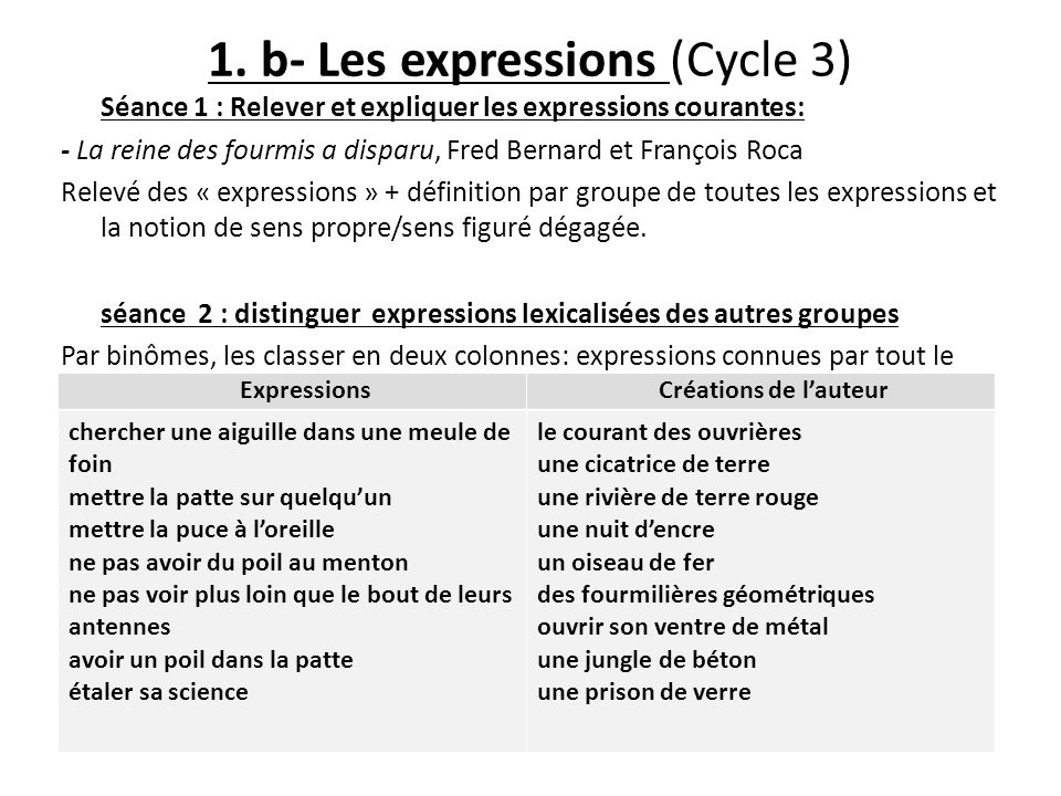 1. b- Les expressions (Cycle 3)