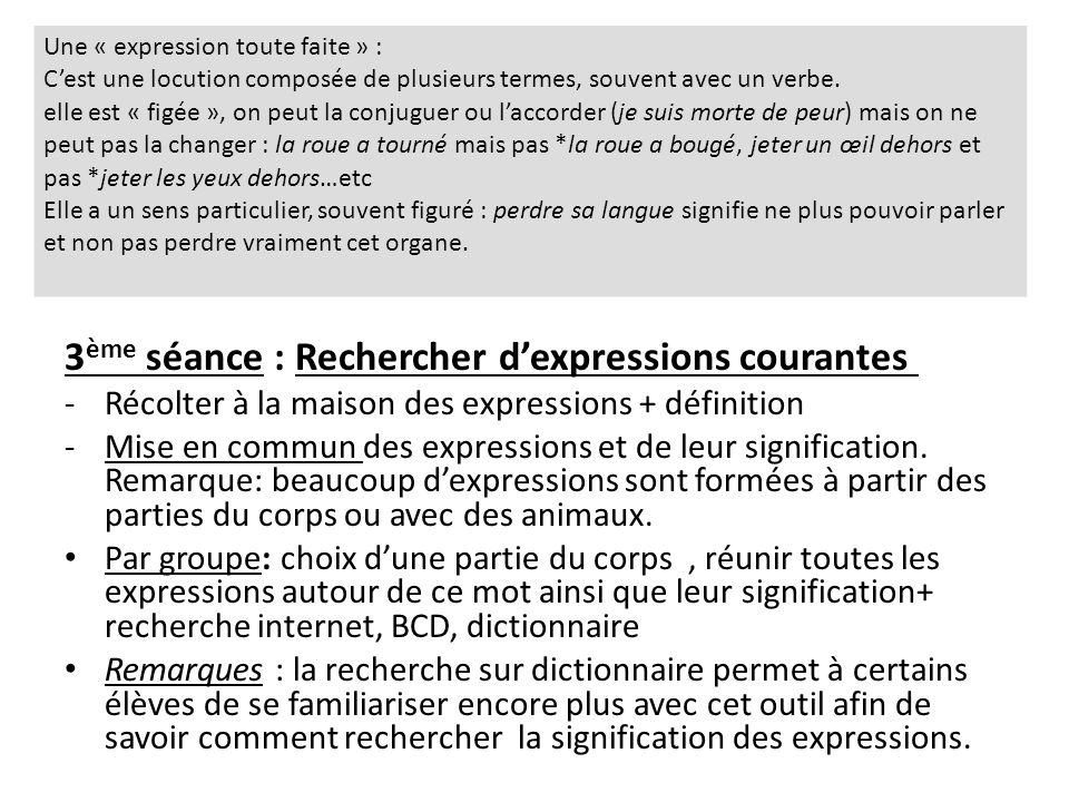 3ème séance : Rechercher d'expressions courantes