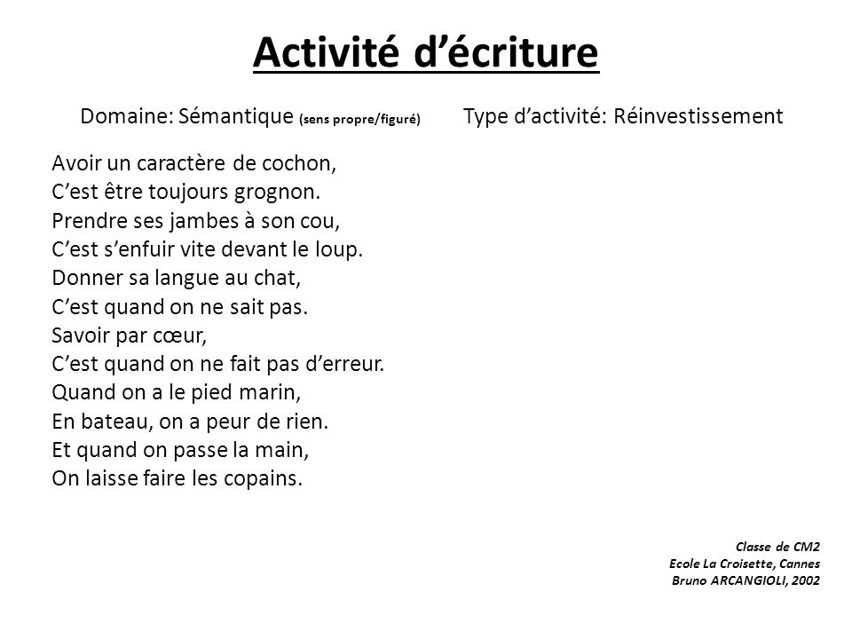 Activité d'écriture Domaine: Sémantique (sens propre/figuré) Type d'activité: Réinvestissement
