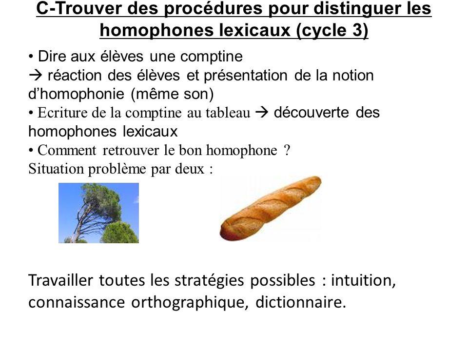 C-Trouver des procédures pour distinguer les homophones lexicaux (cycle 3)