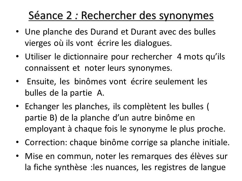 Séance 2 : Rechercher des synonymes