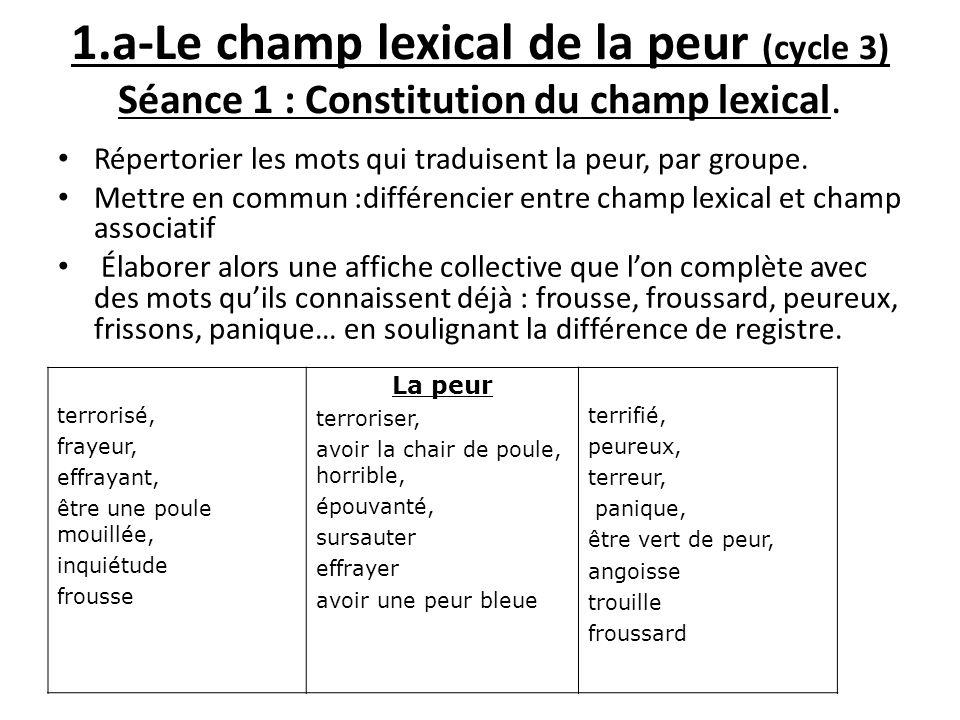 1.a-Le champ lexical de la peur (cycle 3) Séance 1 : Constitution du champ lexical.
