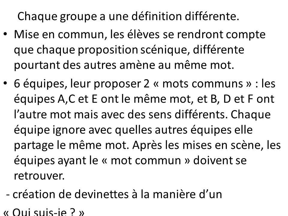 Chaque groupe a une définition différente.