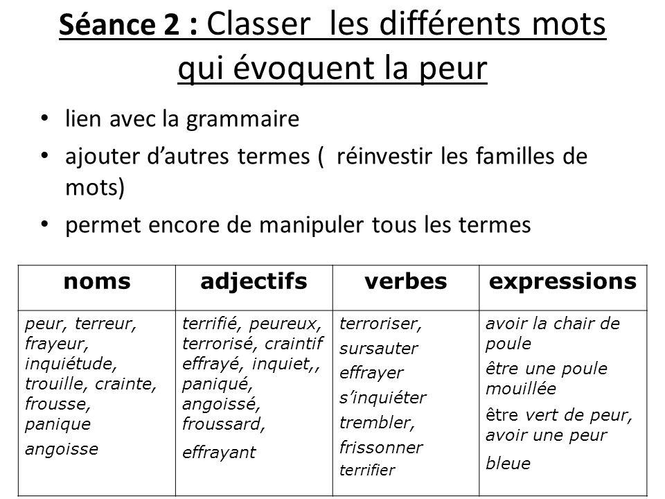Séance 2 : Classer les différents mots qui évoquent la peur