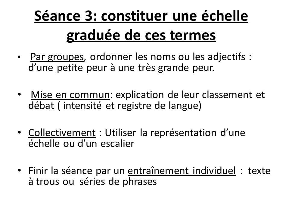 Séance 3: constituer une échelle graduée de ces termes