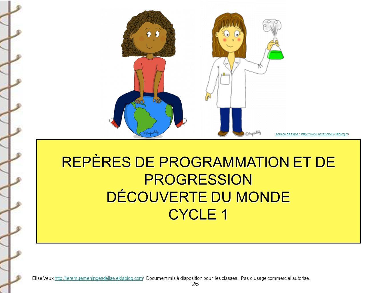 REPÈRES DE PROGRAMMATION ET DE PROGRESSION DÉCOUVERTE DU MONDE CYCLE 1