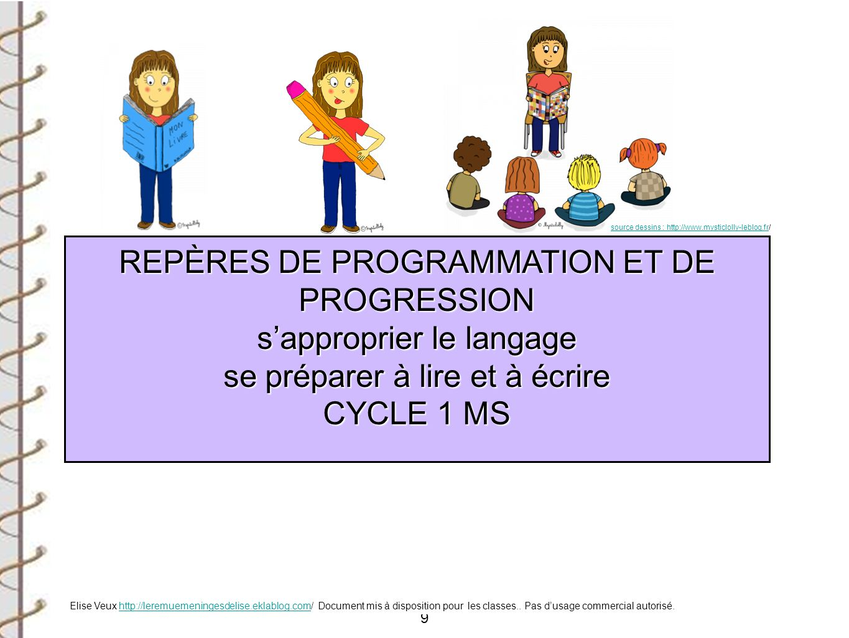 REPÈRES DE PROGRAMMATION ET DE PROGRESSION s'approprier le langage