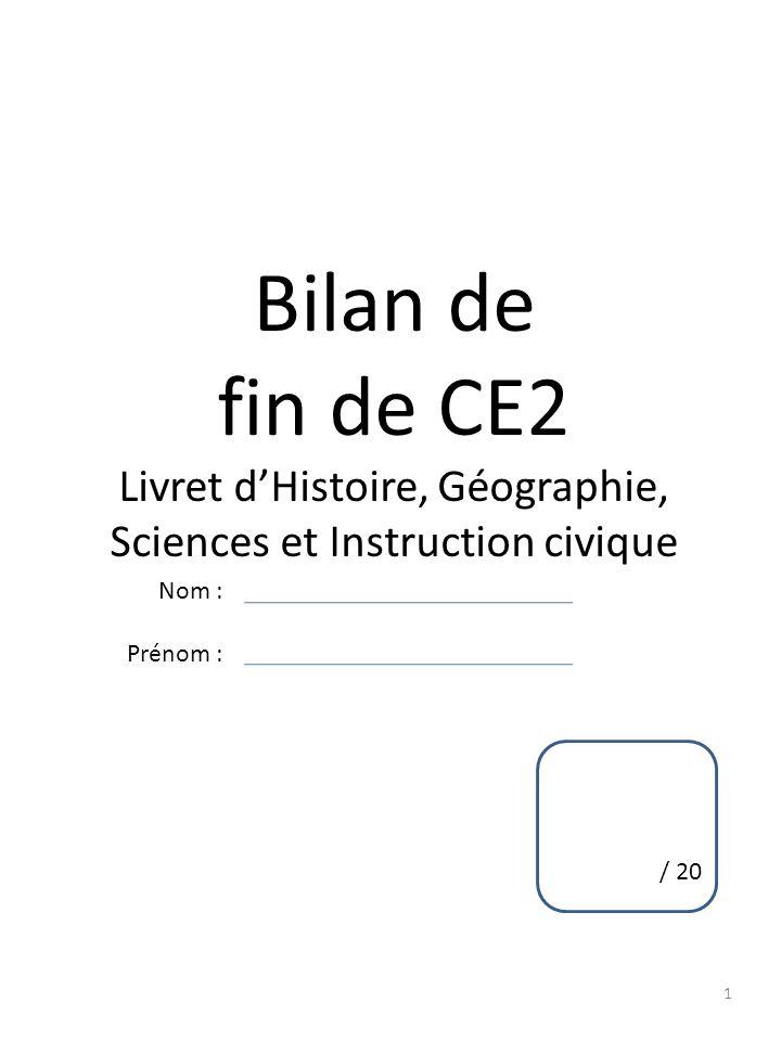 Livret d'Histoire, Géographie, Sciences et Instruction civique