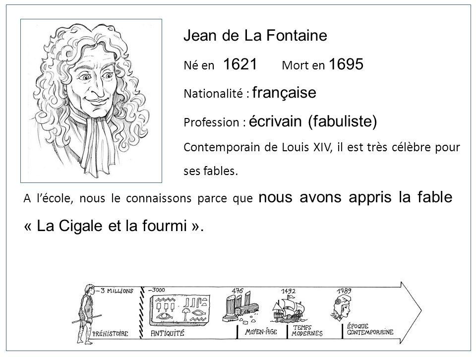 Jean de La Fontaine Né en 1621 Mort en 1695 Nationalité : française
