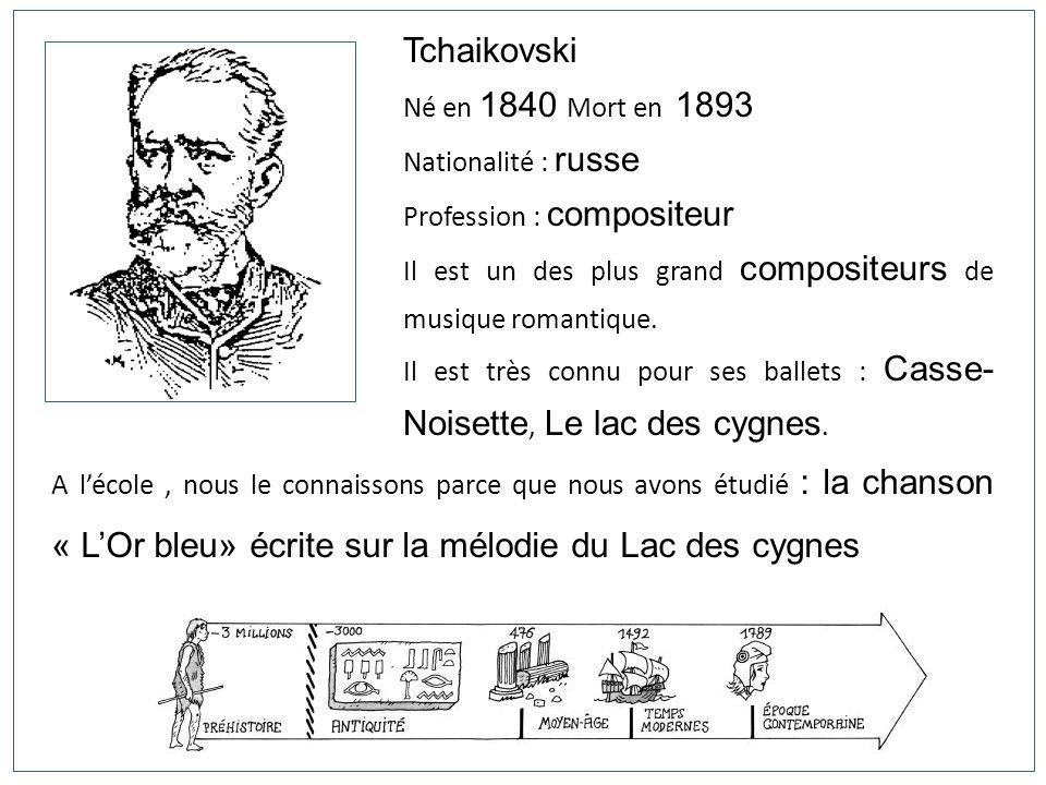 Tchaikovski Né en 1840 Mort en 1893 Nationalité : russe