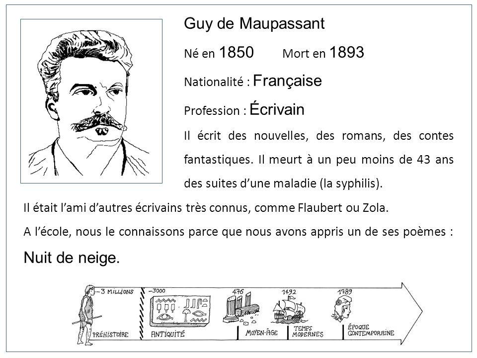 Guy de Maupassant Né en 1850 Mort en 1893 Nationalité : Française