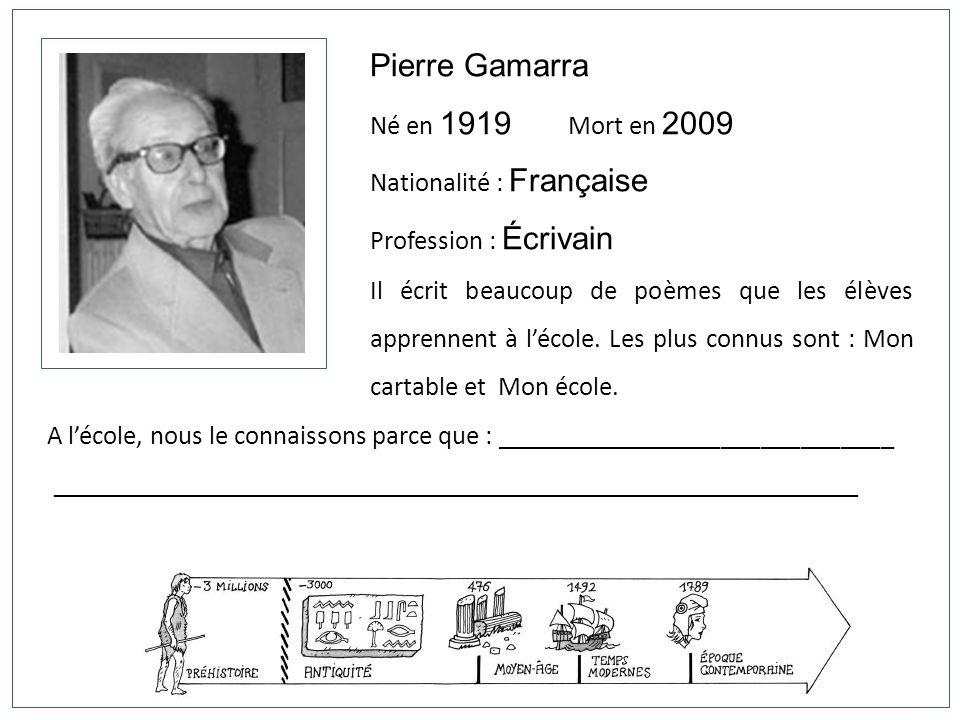 Pierre Gamarra Né en 1919 Mort en 2009 Nationalité : Française