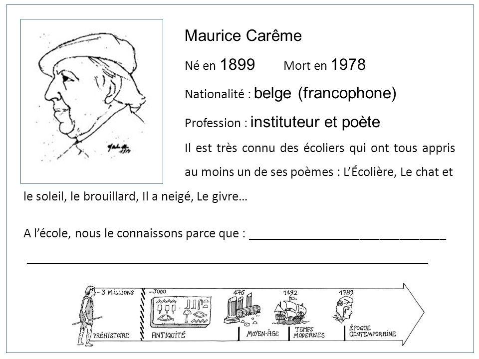 Maurice Carême Né en 1899 Mort en 1978