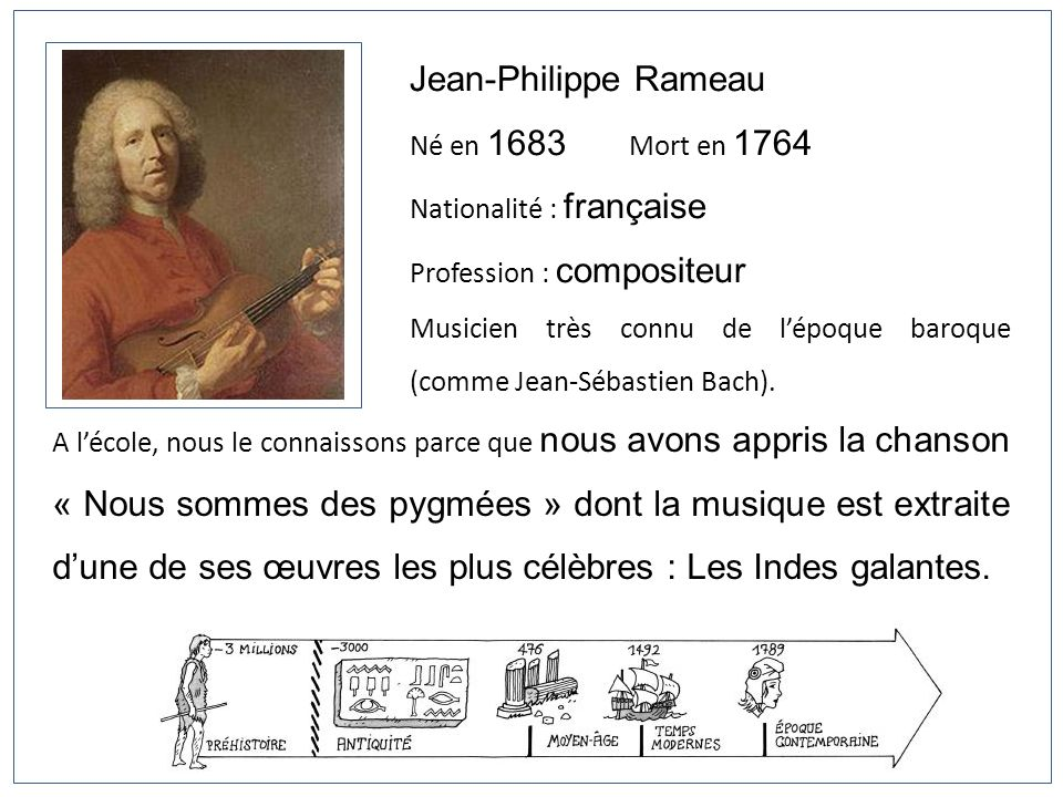 Jean-Philippe Rameau Né en 1683 Mort en 1764 Nationalité : française