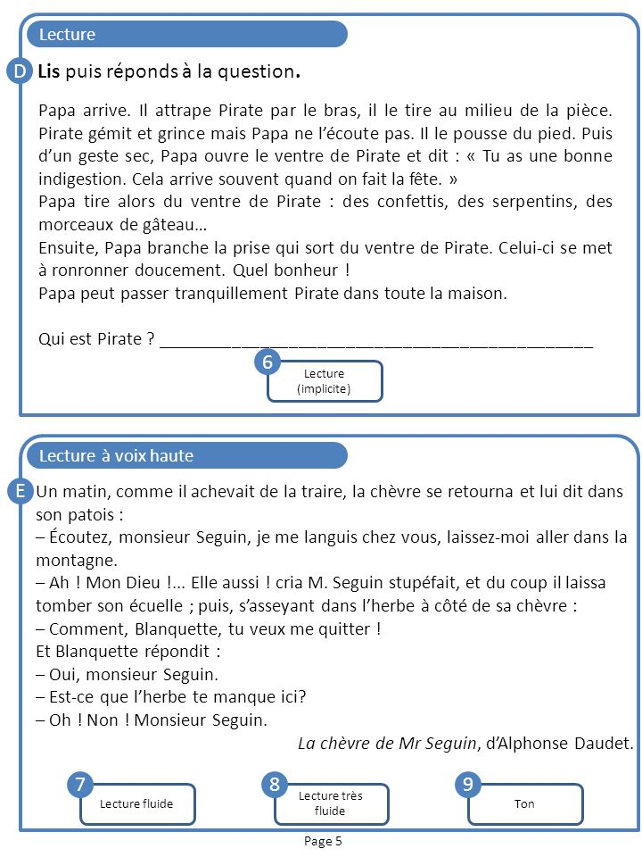 Lis puis réponds à la question.