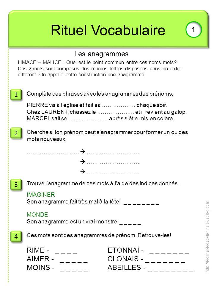 Rituel Vocabulaire 1 1 Les anagrammes 1 2 3 4 RIME - _ _ _ _