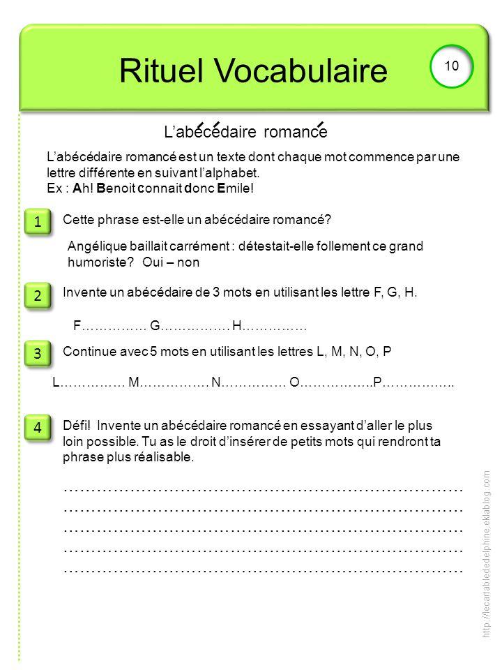 Rituel Vocabulaire L'abecedaire romance 1 2 3 4