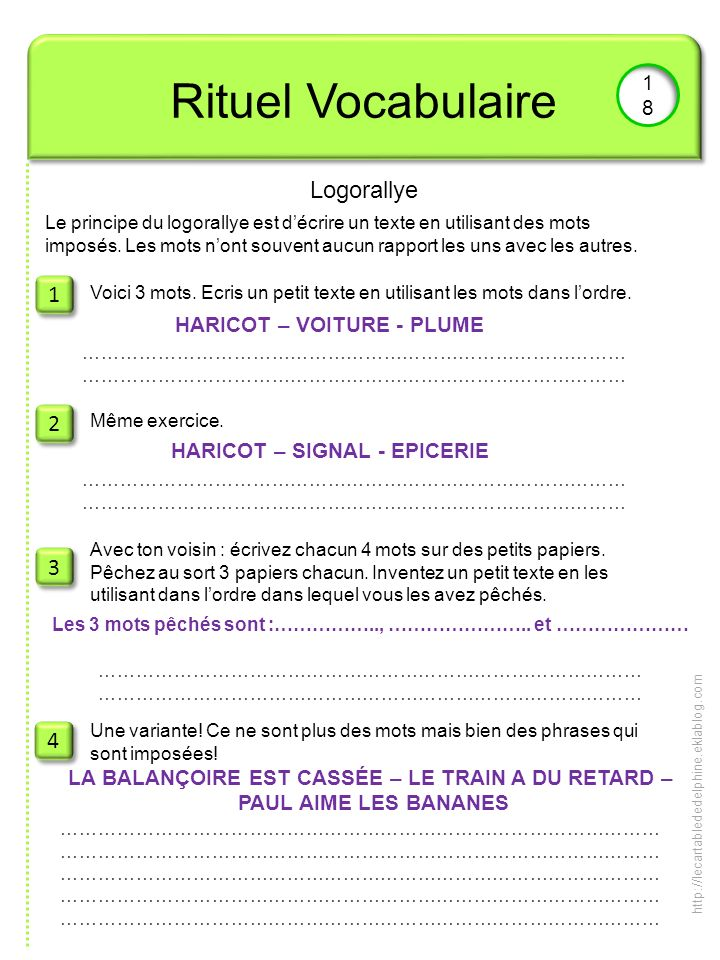 Rituel Vocabulaire Logorallye 1 2 3 4 18 HARICOT – VOITURE - PLUME
