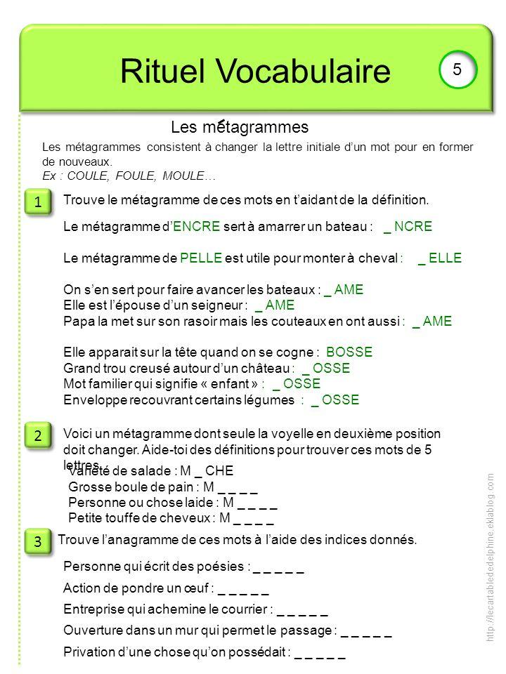 Rituel Vocabulaire 5 Les metagrammes 1 2 3