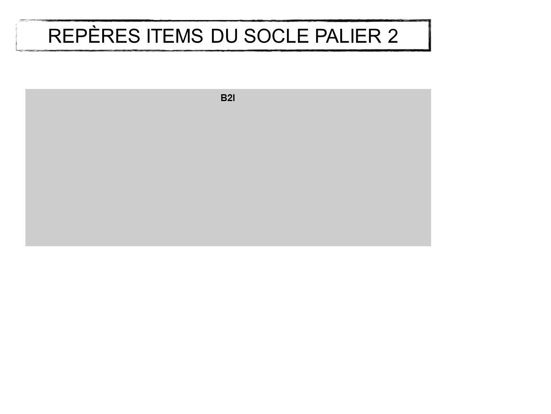 REPÈRES ITEMS DU SOCLE PALIER 2