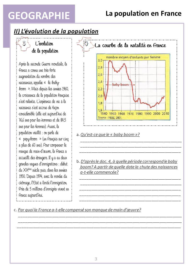 GEOGRAPHIE La population en France II) L'évolution de la population