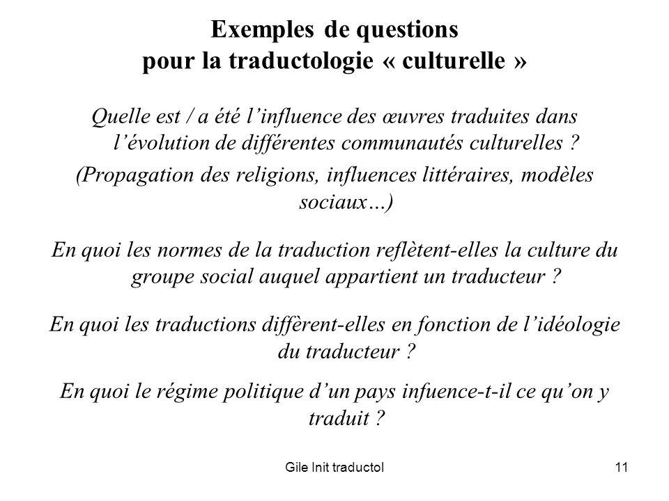 Exemples de questions pour la traductologie « culturelle »