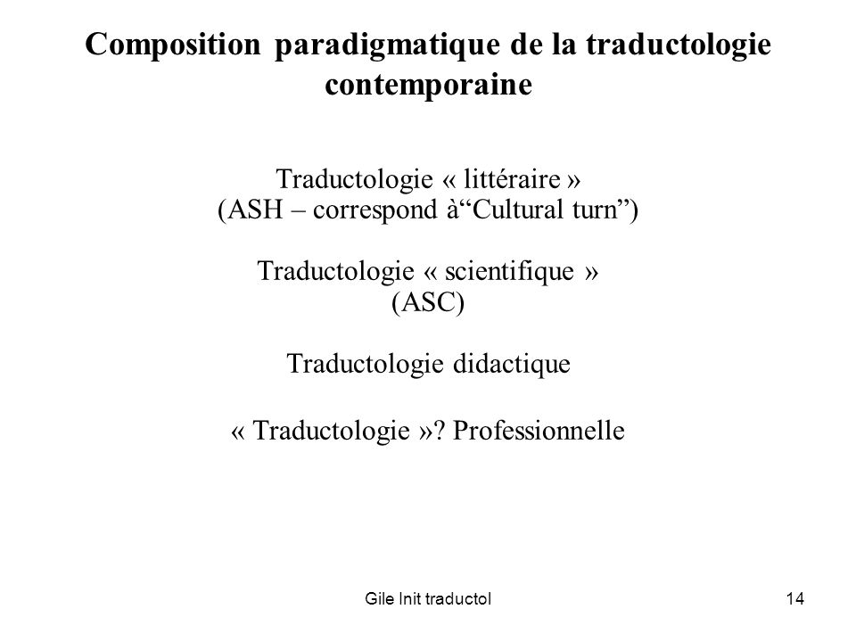 Composition paradigmatique de la traductologie contemporaine