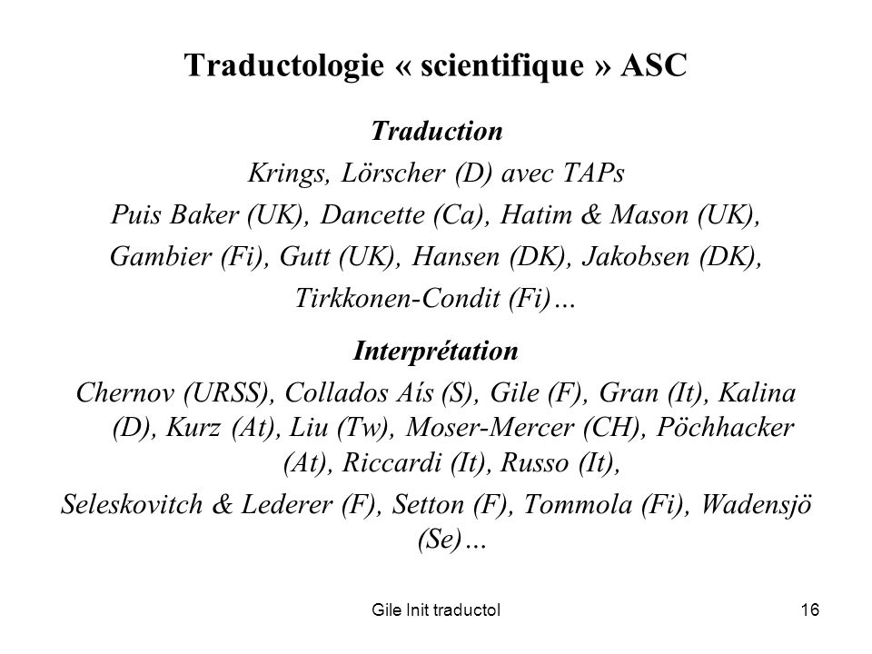 Traductologie « scientifique » ASC