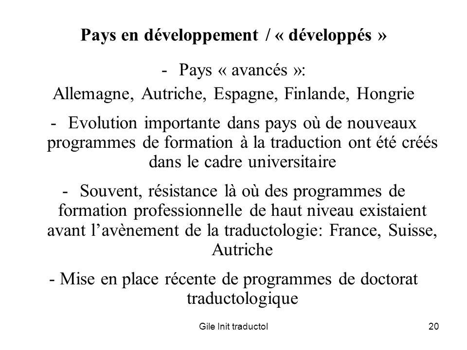 Pays en développement / « développés »
