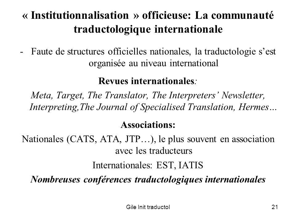 Nombreuses conférences traductologiques internationales