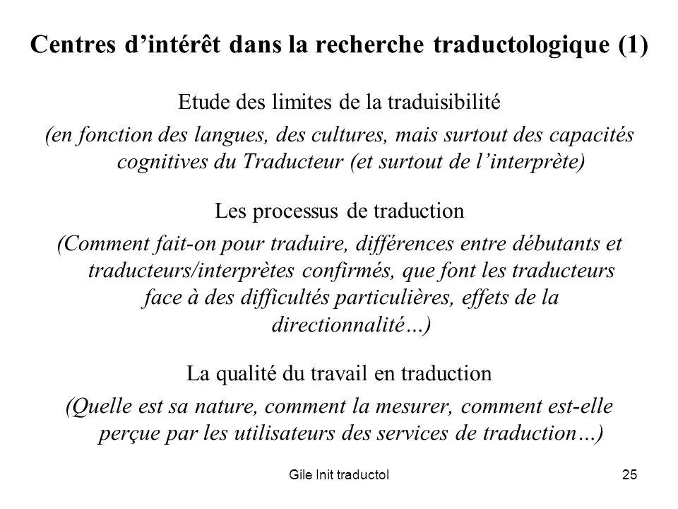 Centres d'intérêt dans la recherche traductologique (1)