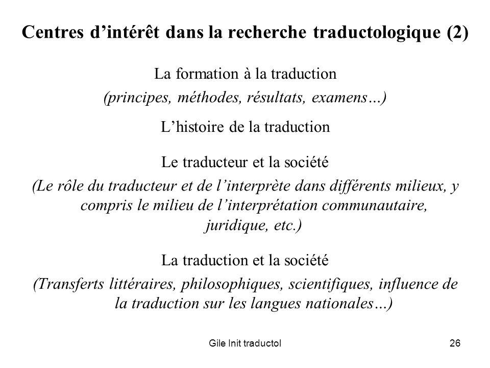 Centres d'intérêt dans la recherche traductologique (2)