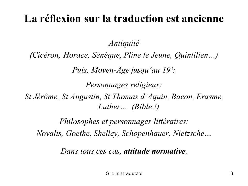 La réflexion sur la traduction est ancienne