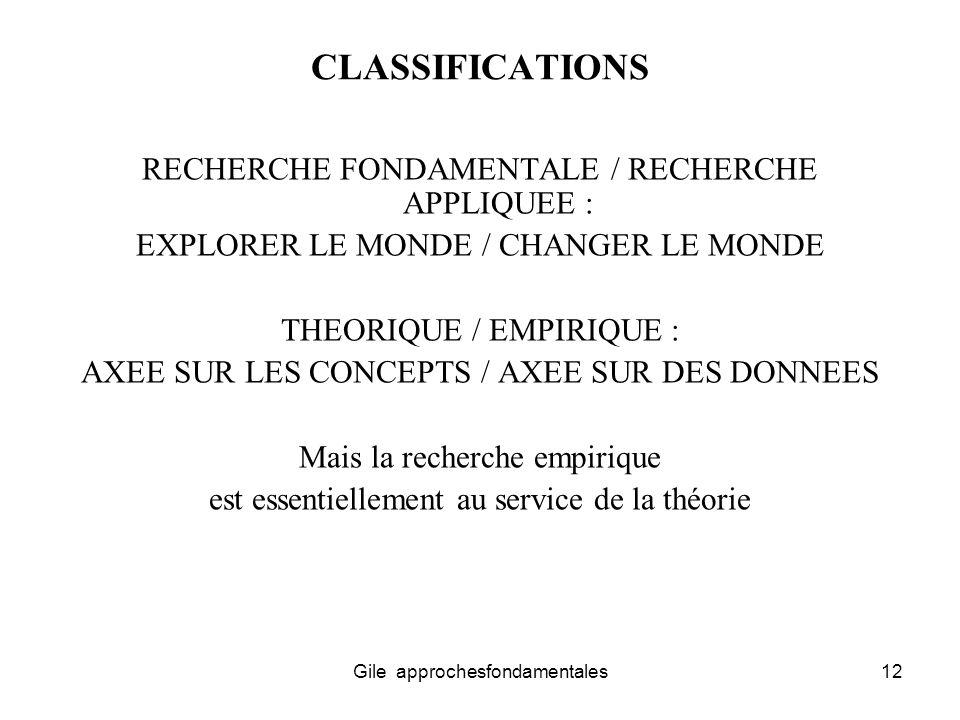 CLASSIFICATIONS RECHERCHE FONDAMENTALE / RECHERCHE APPLIQUEE :