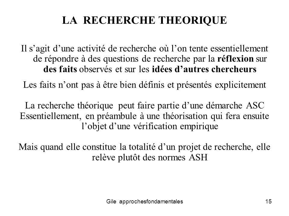 LA RECHERCHE THEORIQUE