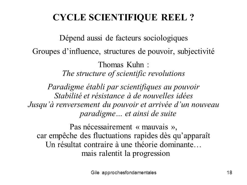 CYCLE SCIENTIFIQUE REEL