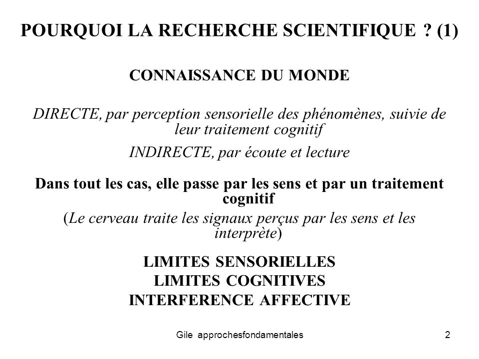 POURQUOI LA RECHERCHE SCIENTIFIQUE (1)