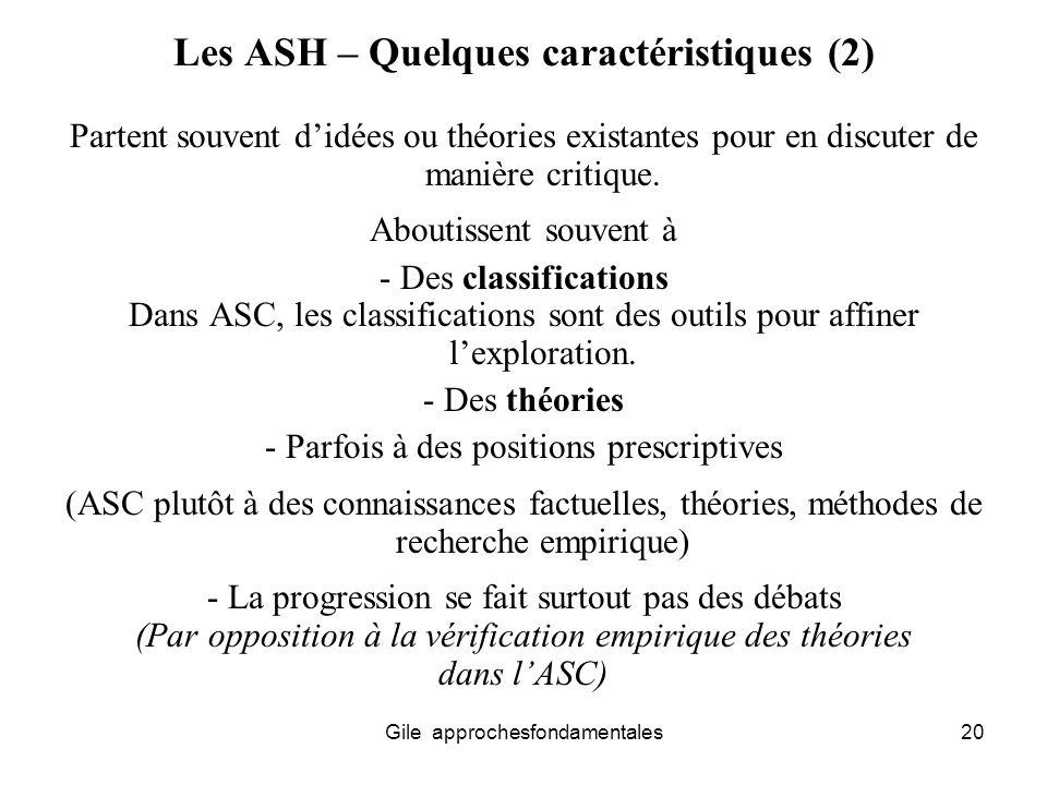 Les ASH – Quelques caractéristiques (2)